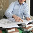 Stockfoto: Architect pointing to blueprint