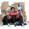 Royalty-Free Stock Photo: Three roommates moving out.