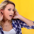 Woman trying to hear better — Stock Photo #8078505