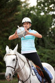 Young woman playing horse-ball — Stock Photo