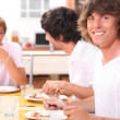 Guys eating bacon — Stock Photo #8080984