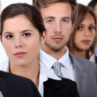 Head and shoulder shot of five city workers — Stock Photo