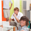 Friends relaxing at home — Stock Photo