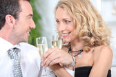 Closeup of couple drinking champagne — Stock Photo