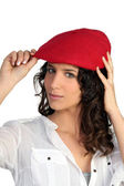 Woman wearing a beret — Stock Photo