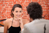 Woman having in an interesting conversation — Stock Photo