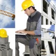 Photo-montage of a building worker — Stock Photo