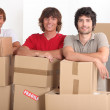 Teenagers moving together into a new apartment — Stock Photo