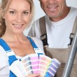 Couple with color chart — Stock Photo #8101210