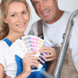 Stock Photo: Couple choosing colours