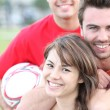 Friends playing soccer — Stock Photo