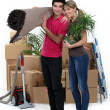 Couple arranging their new apartment — Stock Photo