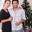 Stock Photo: Couple in front of a Christmas tree