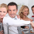 Couple dining with friends — Stock Photo #8101774