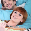 Young man and woman having fun and relaxing — Stock Photo #8102083