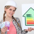 Woman holding cash and energy rating card — Stock Photo #8102275