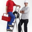 Stock Photo: Electricians and stepladder