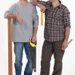 Carpenter and his apprentice — Stock Photo #8103267