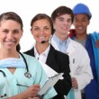 Four from different work sectors — Stock Photo