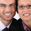 Portrait of a couple wearing glasses — Stok fotoğraf