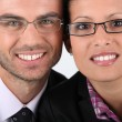 Foto Stock: Portrait of couple wearing glasses