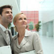 Business couple looking up — Stock Photo