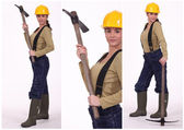 Three images of a woman with a pickaxe — Stock Photo