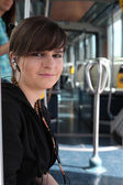 Teenage girl on the tram — Stock Photo