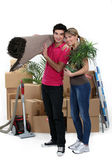 Couple arranging their new apartment — Stock Photo