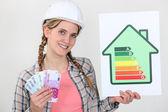 Vrouw met contant geld en energie ratinggegevens — Stockfoto
