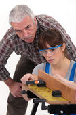 Trainee carpenter — Stock Photo