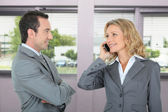 Happy businesspeople in office — Stock Photo