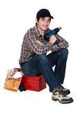 举行一次演习的年轻工匠 — 图库照片