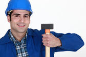 Man holding hammer — Stock Photo