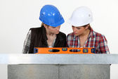 Tradeswomen examining a blueprint together — Stock Photo