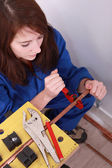 High-angle view of a female plumber — Stock Photo
