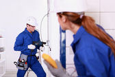 Workers renovating a kitchen — Stock Photo