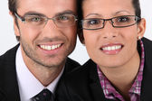 Portrait of a couple wearing glasses — Foto Stock
