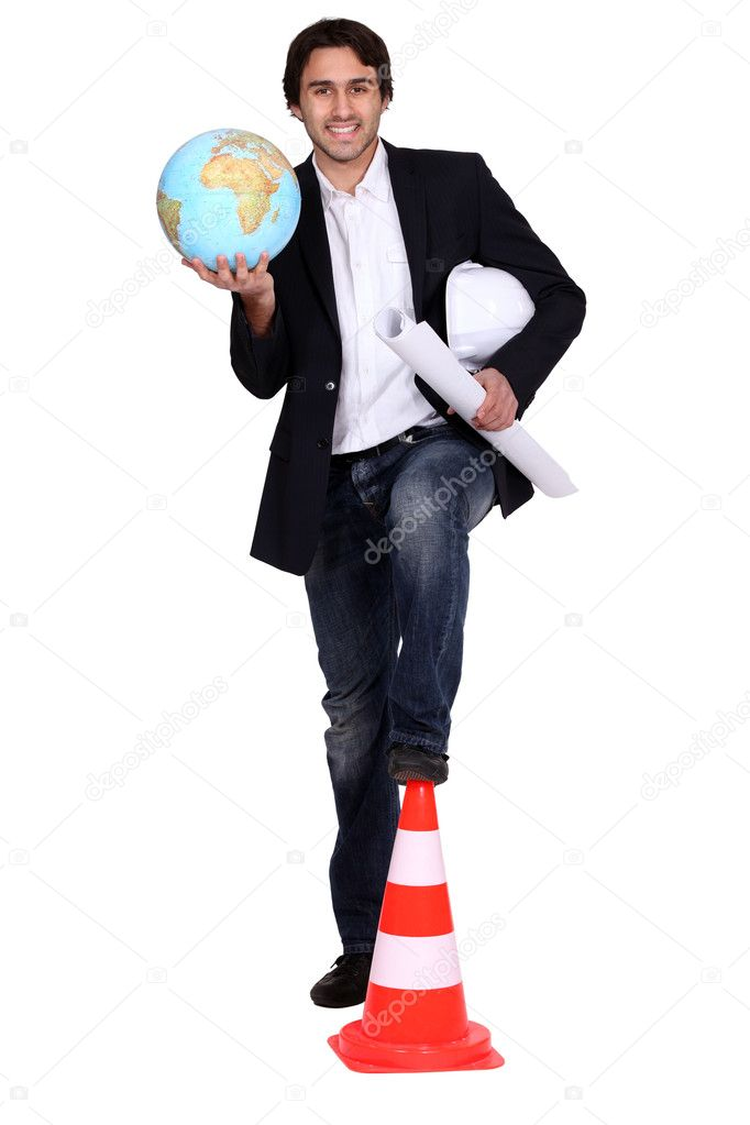 Architect holding globe  Stock Photo #8102325