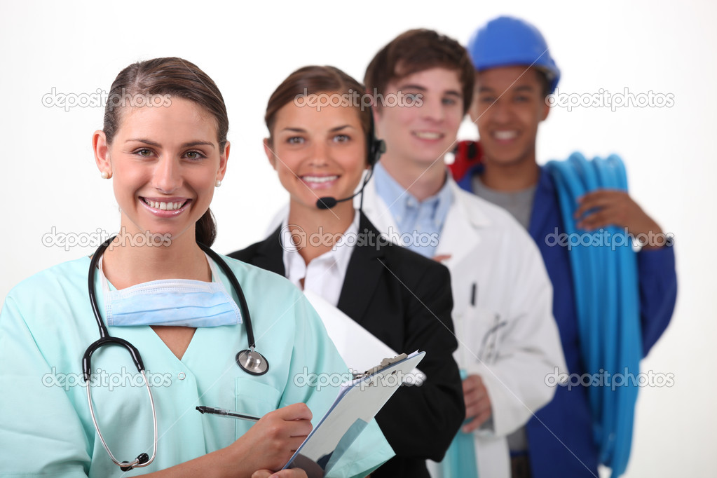 Four from different  work sectors — Stock Photo #8103300