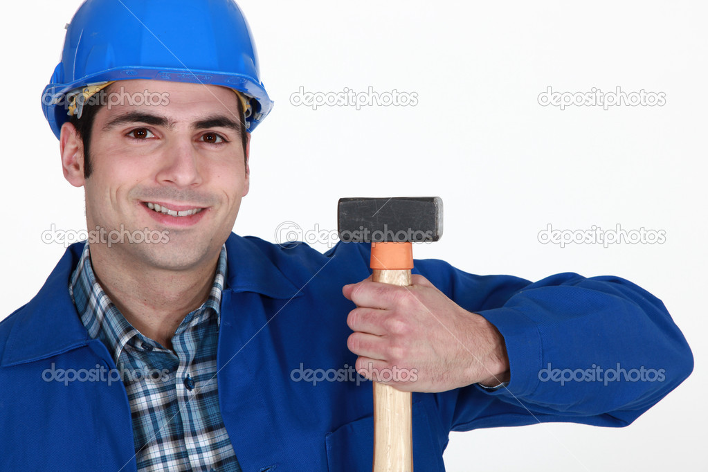Man holding hammer — Stock Photo #8105194