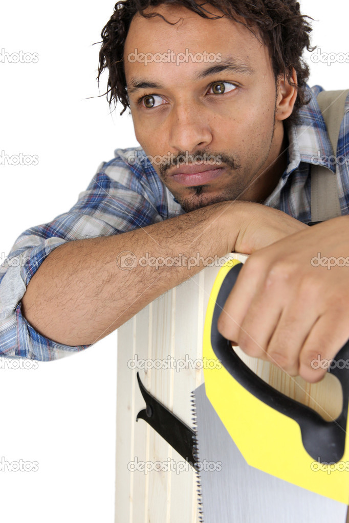 Pensive carpenter — Stock Photo #8107516