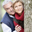 Стоковое фото: Older couple peeking around a tree