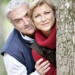 Foto Stock: Older couple peeking around a tree