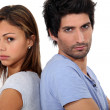Man and woman standing back — Stock Photo #8111491