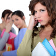 Student rejected from her friends — Stock Photo