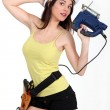 Woman holding electric saw — Stock Photo #8111967
