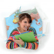Woman bursting out of geography class — Stockfoto