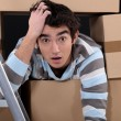 Shocked logistics worker — Stock Photo #8112106