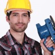 Worker with a sander — Stock Photo #8112286
